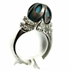 Galatea Tahitian Pearl Ring With R.c. Turquoise And Diamonds In 14kw Gold New