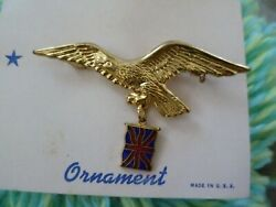 Military Ornaments Crossed Sword With Union Jack Flag Brooch Badge New- 1 Pcs