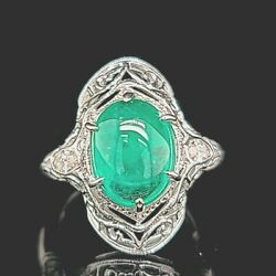 Vintage 14k White Gold Ring 3.58ct. Cabochon Natural Green Colombia Emerald