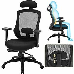 High Back Office Chair, Ergonomic Mesh Desk Chairs With Adjustable Headrest 3d