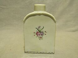 Antique Qing Chinese Export Porcelain Floral Flask Shape Tea Caddy 5 H 18th C.