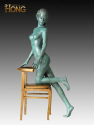Art Deco Sculpture Abstract Woman Girl Dancing On The Chair Bronze Statue