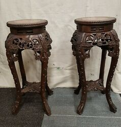 Pair Of Antique Chinese Carved Rosewood Marble Top Plant Stands/side Tables
