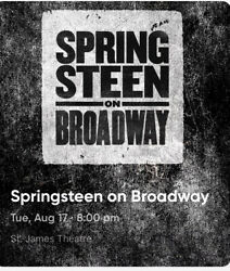 Bruce Springsteen On Broadway Nyc 8-17-21 Orchestra Seats