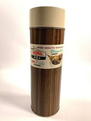 1970 Thermos Wide Mouth Vacuum Bottle Vintage New Old Stock Nos Wood Grain Sides