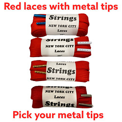 Strings Wide Red 45``laces Metal Tips Why Wait For Overseas Shipment Get It Fast