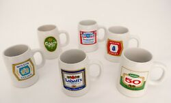 6 X Vintage Collectible 16 Oz Ceramic Beer Stein Canadian Brewers All In Mint