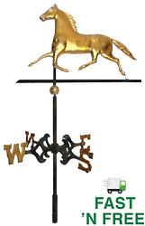🐎💨 Antique Copper With Gold Gilt Hollow-body Trotting Horse Weathervane