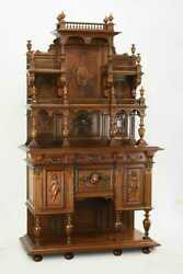 Antique Buffet, Display Cabinet French Renaissance Revival Carved Walnut, 1800's