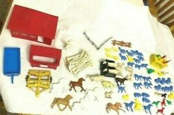 Lot Of 85 Vintage Toy Plastic Farm Set Barn Chicken Coop Farming Implements