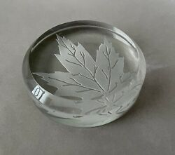 Baccarat France Crystal Etched Maple Leaf 3 1/2 Inch Round Paperweight Free Ship
