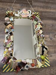 Mackenzie Childs Rare Odds And Ends Putty Wall Mirror Decor