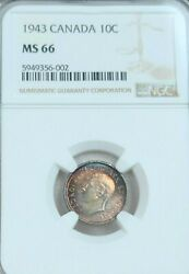 1943 Canada Silver 10 Cents George Vi Ngc Ms Ms 66 Scarce Color Toned Top Pop