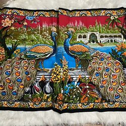 """Vintage Tapestry Wall Hanging Peacock 100% Cotton Made in Turkey 60"""" X 40"""" MCM"""