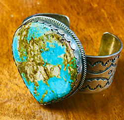 Huge Vintage Navajo Turquoise And Silver Bracelet With Stamping Weighs 94grams