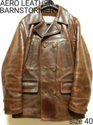 Aero Leather Full Leather Half Coat Burn Stormer Jacket Brown Color Size 40 Used