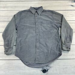 Vintage The Territory Ahead Button Up Shirt Mens Medium Grey Casual Heavy Cotton