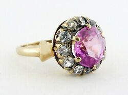 Antique Victorian 10k Gold Pink Topaz And Old Mine-cut Diamond Cluster Ring