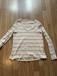 American Eagle Sweater White With Orange And Pink Stripes. Size M