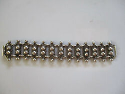 Vintage 1940s Mexican Heavy Sterling Ball Link Chain Ladder Mexico Bracelet Rare