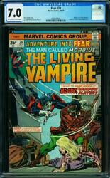 Adventure Into Fear 24 Cgc 7.0 Oww Page First Blade Morbius In Issue Togethe A0