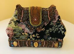 Vintage ? Tapestry Beaded Clutch Purse