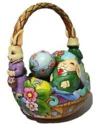 """Jim Shore Heartwood Creek """"for The Love Of Easter"""" Basket With Six 6 Eggs"""