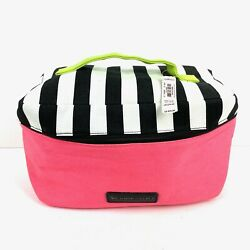 Victorias Secret Lingerie Travel Case Tote Bag Canvas Pink Striped Cosmetic New $28.30