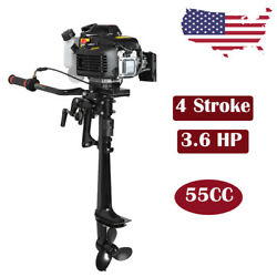 4 Stroke 3.6hp Heavy Duty Outboard Motor 55cc Boat Engine W/ Air Cooling System
