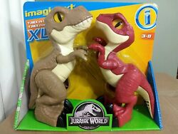 Imaginext Jurassic World Xl T-rex And Raptor Dino Attack Pack