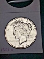 1923-d Uncirculated Silver Peace Dollar Coin Mint State Gem Free Shipping