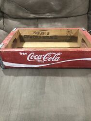 Vintage Coca-cola Wooden Coke Soda Pop Crate Carrier Box Red Your Case Is Solved