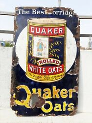 1930and039s Vintage Rare Quaker Rolled White Oats Ad Porcelain Enamel Sign Board Usa