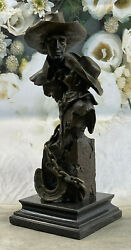 Father And Son Father`s Day Gift Bronze Sculpture Western Art Marble Base Figure
