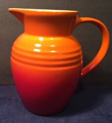 Le Creuset Orange And Red Stoneware Pitcher 0.7 L 5-3/4 Tall Creamer Syrup Juice