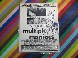 Vtg 1970and039s John Waters Movie Flyer Rare Multiple Maniacs Signed 1970 Premiere