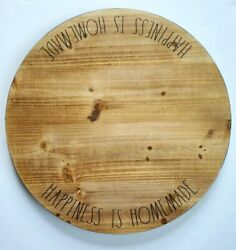 Rae Dunn Lazy Susan Happiness Is Homemade Wood Spinning Turntable 18 Farmhouse