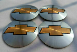 4x 56mm 2.2 Auto Car Wheel Center Cap Emblem Decal Sticker For Chevy Silvery