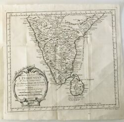 Vintage Map Of South India And Ceylon, Bellin Prevost, 1752