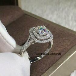 3ct White Round Moissanite Double Halo Engagement Ring In 14k White Gold