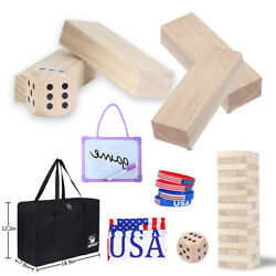 54pcs Stacking Blocks Giant Tumble Tower Game Wooden Toppling Dice Tower Sets