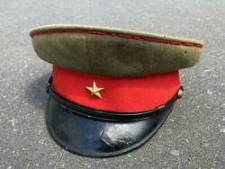 Military Antique Japanese Army Cap Hat Olive Red Black Star Old From Japan