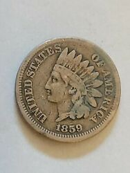1859 Indian Head Cent Vf Very Fine Copper-nickel Penny 1c Us Coin Collectible