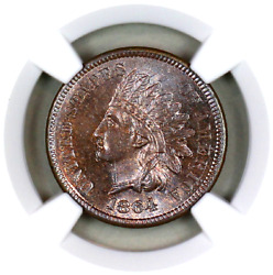 1864 L Ms64 Bn Ngc Indian Head Penny Premium Quality Superb Eye-appeal