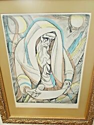 Irving Amen Signed Vtg Modern Cubist Judaica Lithograph Etching Print Religious