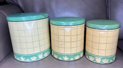 3 Vintage Tin Litho Cream And Jadeite Jade Green Paint Kitchen Canisters Cute