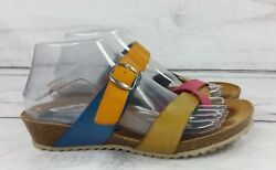 Eric Michael Leather Sandals Strappy Colorful Slides Blue Pink Sz 6 Made Spain $35.00