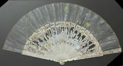 Antique French Hand Fan Carved Bovine Bone Hand Painted Framed In Shadow Box
