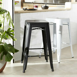 65cm Metal Cafe Bar Stool Stackable Backless Stools Dining Chairs K1