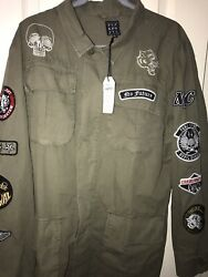 Punk Royal Men's Military Jacket Indian Skull Print With Patches Size Large